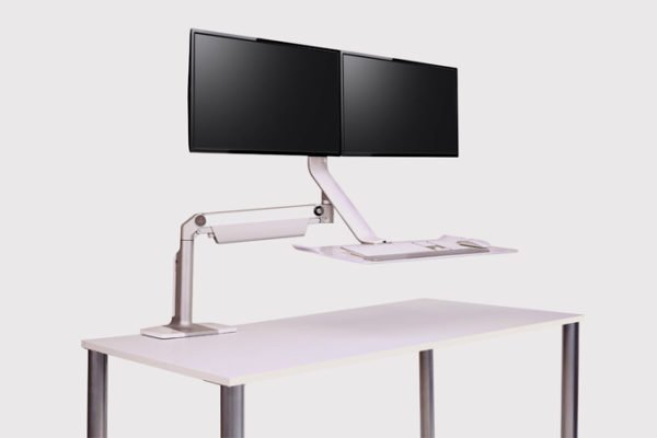 Humanscale Sit/Stand Lite Double Monitor Arm and Keyboard Tray
