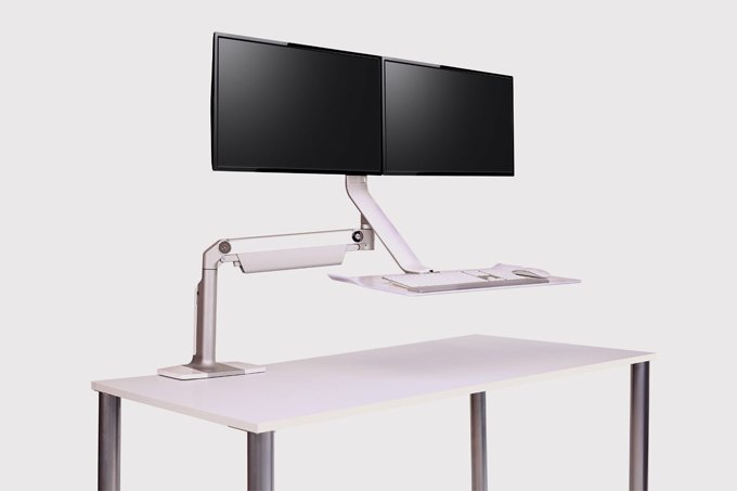 Humanscale Sit Stand Lite Double Monitor Arm And Keyboard Tray