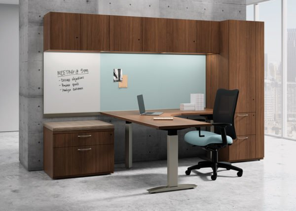 The Exhibit Mixit Private Office is a case good line made by National. With this line, customization options are endless.