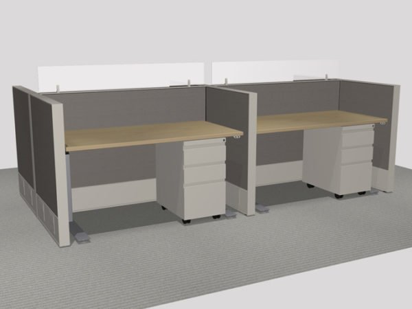 Haworth Pod of 4 Benching - With Height Adjustable Tables and Glass Screens