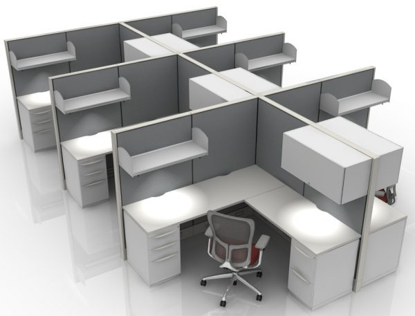 6X6 L-Shaped Station/Cubicles With All Powered Panels