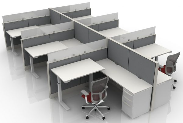 6X6 L-Shaped Height Adjustable Cubicle With Glass
