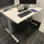 Herman Miller Freestanding Offices, each with 29 x 46 Electric Height Adjustable Table