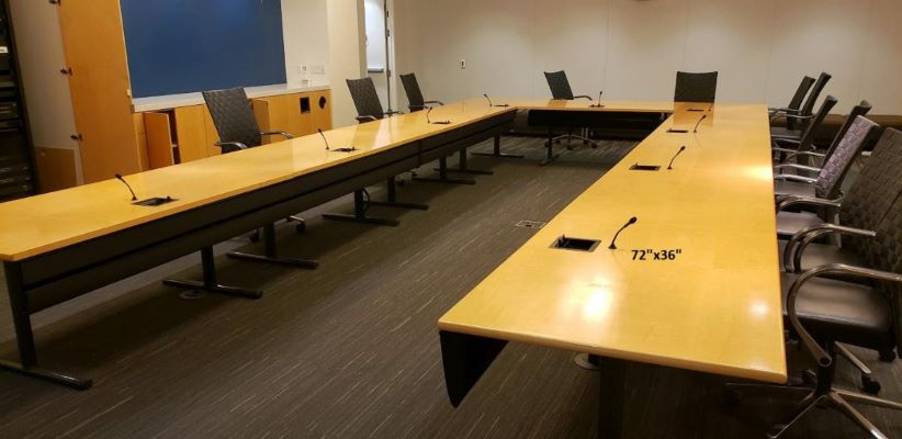 30 foot Maple Board Room Table and 3 U Shaped Modular Conference tables